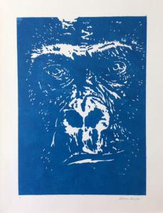 Décoration gorille bleu